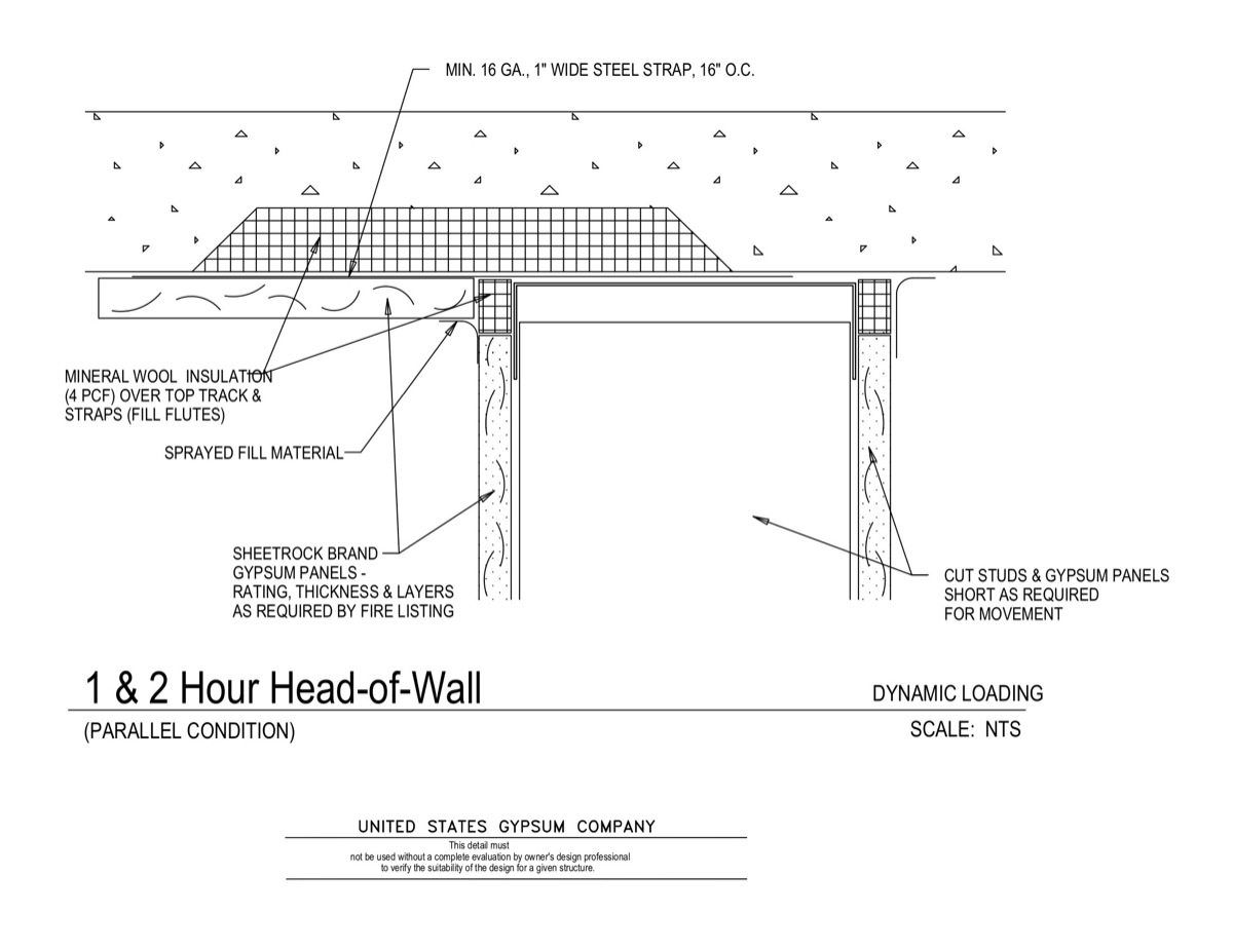 Usg design studio 09 21 head of wall detail 1 2hr for 1 hour floor ceiling assembly