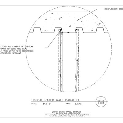 09 21 16.439 Gypsum Board Assembly Wall-Floor Intersection Typical Rated Wall Parallel to Deck Detail