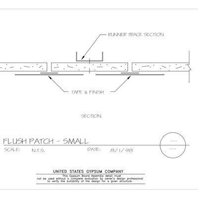 09 21 16.455 Gypsum Board Assembly Patch Detail Flush Patch Small