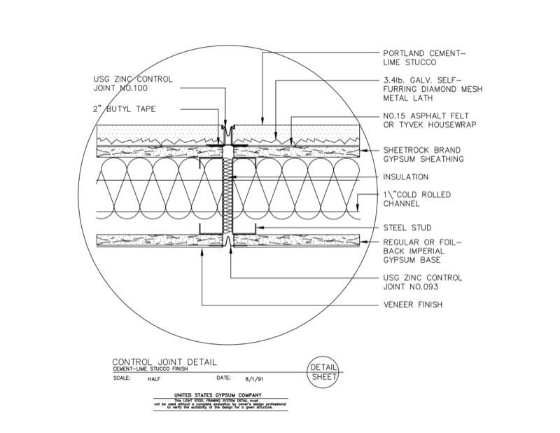 Metal Framing Header Detail Intended 09 21 1663101 Light Steel Framing Control Joint Detail Usg Design Studio Header Download Details