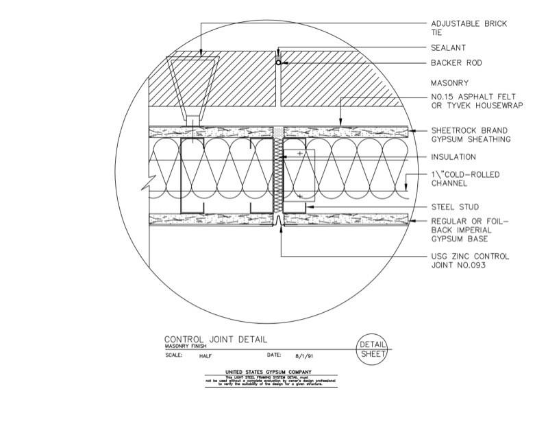 Metal Framing Header Detail To 09 21 1663102 Light Steel Framing Control Joint Detail Usg Design Studio Stud Download Details