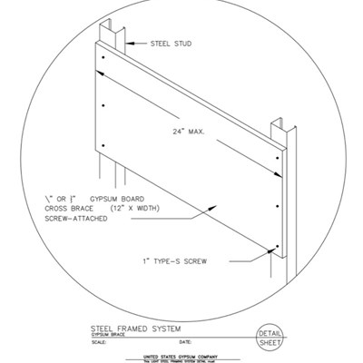 09 21 16.63.3013 Light Steel Framing Structural Support Isometric Steel Framed Gypsum Bracing Detail