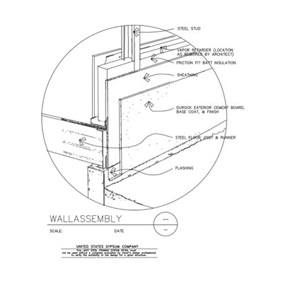 09 21 16.63.303 Light Steel Framing Structural Support Isometric Wall Assembly Detail