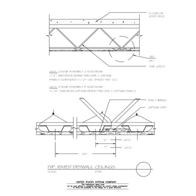09 21 16 93 001 Dwss Typical Rated Drywall Ceilings