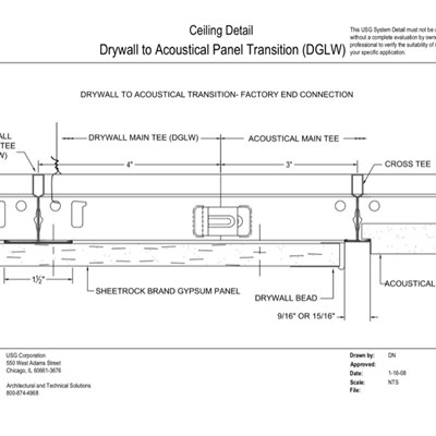 09 21 16.93.174 09 51 13.174 DWSS Drywall to Acoustical Panel Transition DGLW