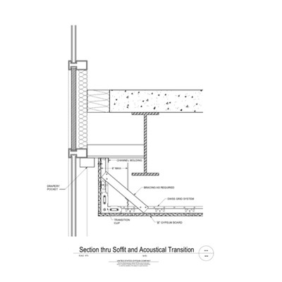 09 21 16.93.232 DWSS Section Through Soffit and Acoustical Transition Curtain Pocket
