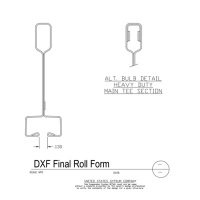 09 22 26.23.111 Metal Suspension System Main Tee Section Detail DXF Final Roll Form