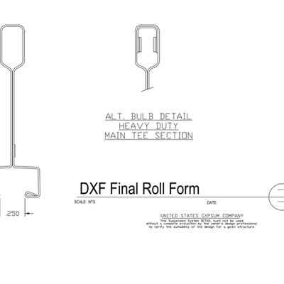 09 22 26.23.112 Metal Suspension System Main Tee Section Detail DXF Final Roll Form