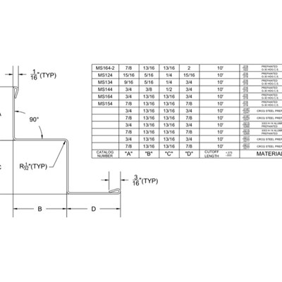 09 22 26.23.134 Metal Suspension System Structural Support ACT Angle Moldings MS124-MS164