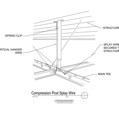 09 22 26.23.138 Metal Suspension System Structural Support ACT Compression Post Splay Wire Details