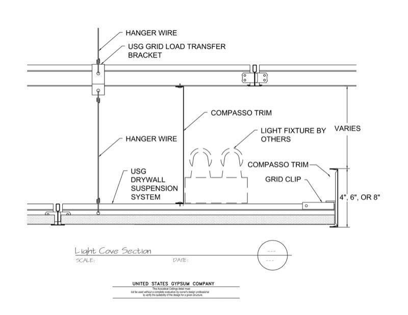 09 51 13.111 Acoustical Ceilings Acoustical Panel Light Cove Section