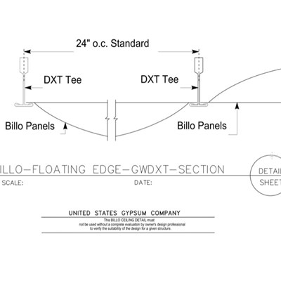 09 53 13.03.128 Specialty Ceilings Billo Section Floating Edge GWDXT