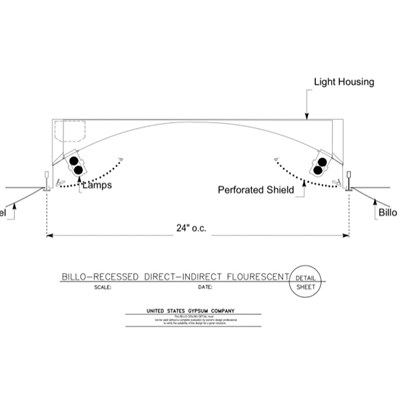 09 53 13.03.137 Specialty Ceilings Billo Recessed Direct Indirect Fluorescent Fixture