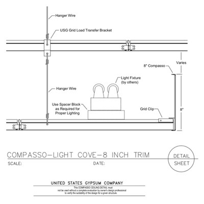 09 54 00.13.1311 Specialty Ceilings Compasso Light Cove 8 Inch Compasso