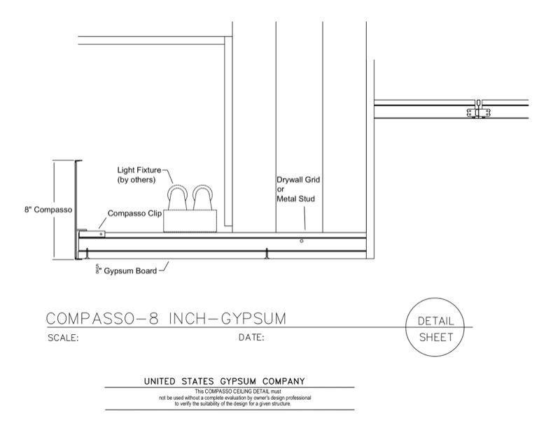 09 54 00.13.1312 Specialty Ceilings Compasso Light Cove Gypsum 8 Inch  Compasso