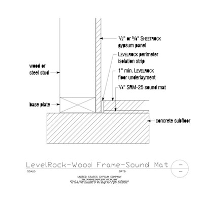 09 54 13.106 LevelRock After DW Wood Frame Sound Mat Over Concrete