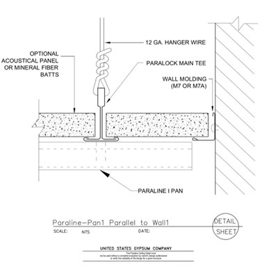 09 54 23.33.173 Specialty Ceilings Paraline Pan1 Perpendicular To Wall1