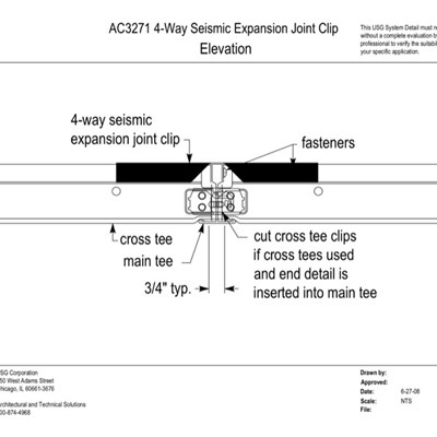 13 05 41.102 Seismic Detail Seismic Clip  ATC 4-way Seismic Clip Elevation Elevation