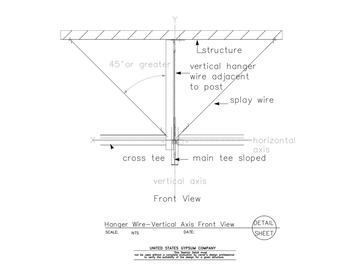 13 05 41.1211 Seismic Detail Ceiling Slope Hanger Wire Details ...