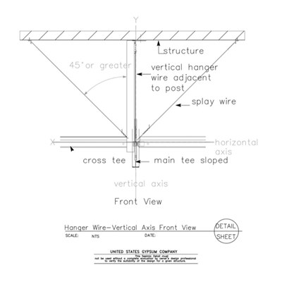 13 05 41.1211 Seismic Detail Ceiling Slope Hanger Wire Details Vertical Axis Front View