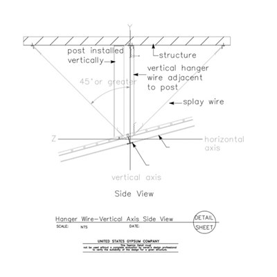 13 05 41.1212 Seismic Detail Ceiling Slope Hanger Wire Details Vertical Axis Side View