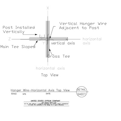 13 05 41.1214 Seismic Detail Ceiling Slope Hanger Wire Details Horizontal Axis Top View