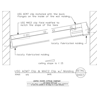 13 05 41.122 Seismic Detail Ceiling Slope Less than 15 degree ACM7-MAC2-Molding Clip