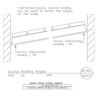13 05 41.128 Seismic Detail Ceiling Slope Molding Clip at Slope