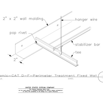 13 05 41.148 Seismic Detail Category D-F Perimeter Treatment Tight Fixed Wall 2in Molding Iso