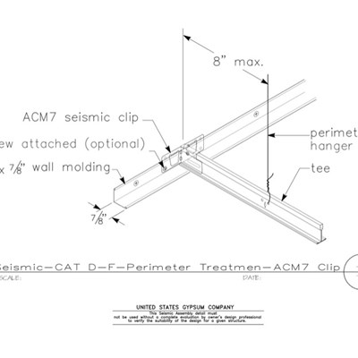 13 05 41.149 Seismic Detail Category D-F Perimeter Treatment Tight Fixed Wall ACM7 Seismic Clip Iso